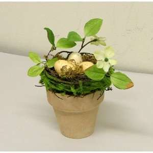 Terracotta Flower Pot with Birds Nest and Dogwood Floral