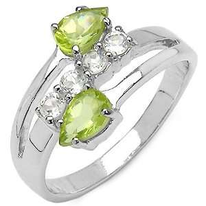 20 Carat Genuine Peridot & White Topaz Sterling Silver Ring Jewelry