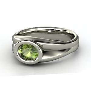 Anzu Ring, Oval Green Tourmaline Sterling Silver Ring Jewelry