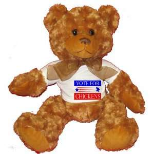 VOTE FOR CHICKENS Plush Teddy Bear with WHITE T Shirt Toys & Games
