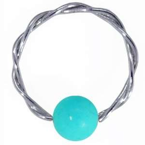 Turquoise Solid 14K White Gold Twisted Captive Bead Ring Jewelry