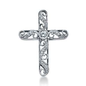 14K White Gold Round Diamond Bezel Set Milgrain Antique Cross Pendant