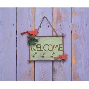 13.5 Metal Wood Home Dcor Birds Welcome Sign Patio, Lawn