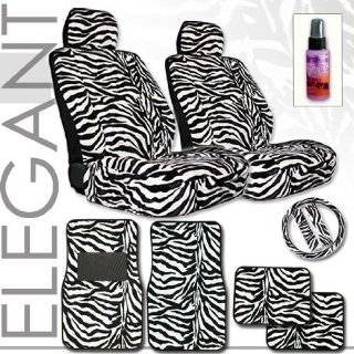 12pc Safari Zebra Car Mats Seat Cover and Steering Wheel Cover Set and
