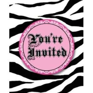 Super Stylish Zebra Print Invitations w/Attachment 8 Per