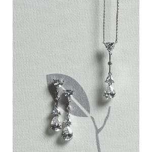 8745 Cubic Zirconia Pear Drop Pendant Necklace