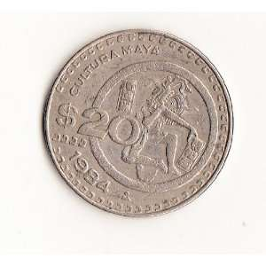 1984 20 PESO CULTURA MAYA COMMEMMORATIVE MEXICAN COIN