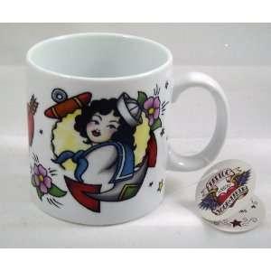 Sexy Girl PINUP SAILOR SHIP Tattoo Art porcelain MUGS