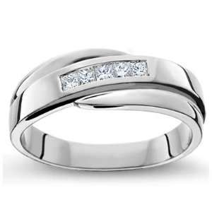 Comfort Fit Mens Wedding Ring in 18k White Gold or Yellow