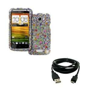EMPIRE AT&T HTC One X Full Diamond Bling Case Cover (Silver with