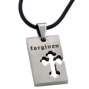 Forgiven Jewelry   Stainless Steel Laser Cut Christian Cross Laser