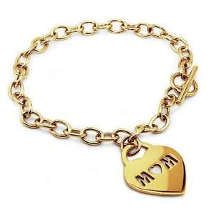 Gold Plated Stainless Steel MOM Heart Tag Bracelet   7.5 Inches West
