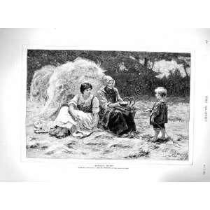 1879 Morgan Royal Academy Farming Family Picnic Print