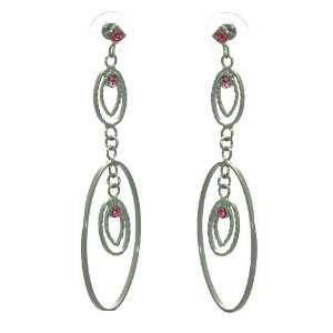 Humoresque Silver Pink Crystal Post Earrings Jewelry