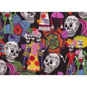 of the Dead Wedding Fabric Los Novios Black BTY Arts, Crafts & Sewing