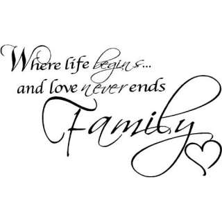 Where Life Begins and Love Never Ends, Family Wall Quotes
