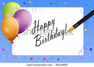 Colourful greeting card with balloons and message tag (Happy Birthday