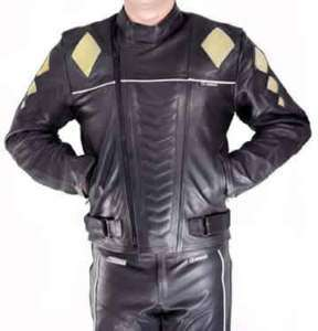 MOTORCYCLE RACING LEATHER JACKET WITH KEVLAR & ARMOR