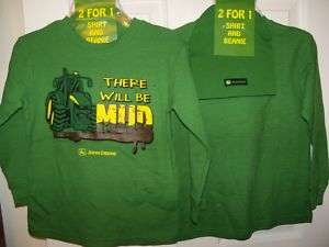 John Deere Tractor Green There Will Be Mud Thermal Shirt & Hat Boys 5