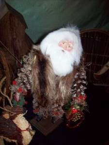 Big Pinecone Santa,Paper Mache, Fur Vest, and Deer |