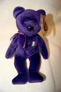 EXTREMELY RARE TY BEANIE BABY PRINCESS DIANA ROSE PURPLE 1997