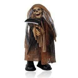 Halloween Animated Moving Death Ghost Doll with Sickle (Black)