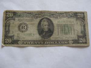 1934A Twenty Dollar Bill Federal Reserve Note B Series