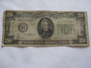 1934A Twenty Dollar Bill Federal Reserve Note B Series