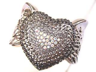 Romantic Feather Angel Wing Heart Black Crystal Bangle