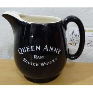 Queen Anne Scotch Whiskey Wade Water Pitcher Jug Black