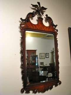 Ornate Federal Style Carved Mahogany Mirror with Eagle
