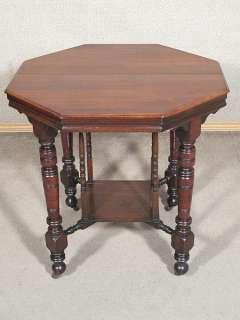 ANTIQUE English WALNUT Octagonal CENTRE WINDOW TABLE c1900 n16