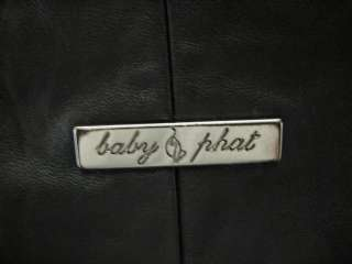 BABY PHAT REVERSIBLE LEATHER JACKET COAT, BLACK, 2XL