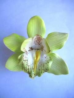 Hawaii Bridal Wedding Party Orchid Flower Hair Clip ~ LT GREEN