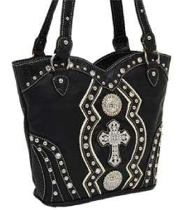 Black Tooled Rhinestone Cross Conchos Boot Top Cowgirl Handbag Purse