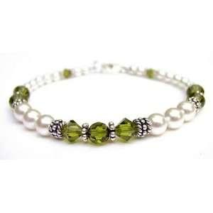 Bracelet in August Peridot Swarovski Crystal Birthstones   LARGE 8 In
