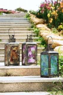 13 Pink Purple Mosaic Glass Hanging Garden Candle Lantern
