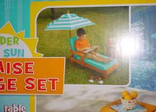 Chaise Lounge Set Solid Wood Chair, Table, Umbrella Patio Furniture