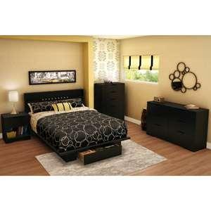 South Shore Holland Full Queen Bedroom Set Pure Black Furniture