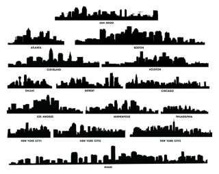 City Skyline Wall Art Decal Sticker Vinyl Mural
