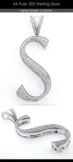 New Mens .925 Sterling Silver Micro Pave Letter Pendant