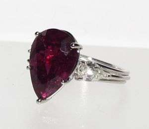 ESTATE PLATINUM 7.70CT  PEAR SHAPE RUBY DIAMOND RING