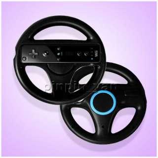 2x Black Steering Wheel for Nintendo Wii Mario Kart Racing Game