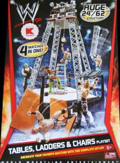 , LADDERS & CHAIRS PLAYSET   WWE MATTEL TOY WRESTLING RING PLAYSET