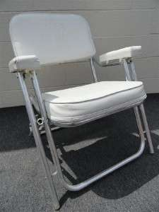 VINYL FOLDING MARINE BOAT DECK FISHING CHAIR   WHITE