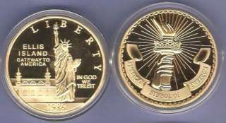 ELLIS ISLAND 24KT GOLD COMMEMORATIVE COIN ~ LIMITED