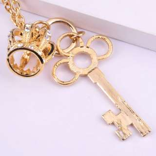 Fashion Gold Color Crown&Key Pendant Necklace With Crystals Good For