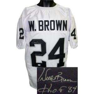Willie Brown Signed Jersey   White Prostyle HOF 84 JSA