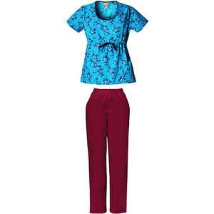 Womens Scoop Neck Floral Snoopy Scrub Shirt and Burgundy