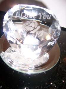 GLASS CRYSTAL GLASS HEART STAND LED LIGHT HOME OFFICE
